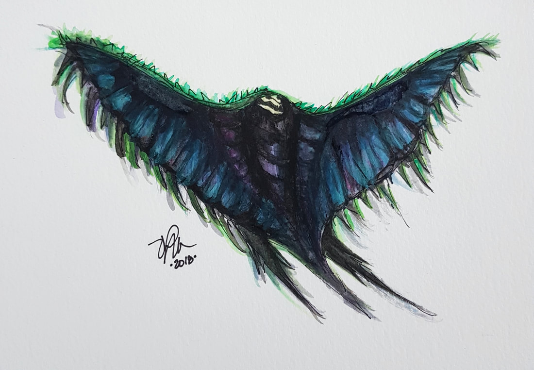 watercolour of a swooping evil